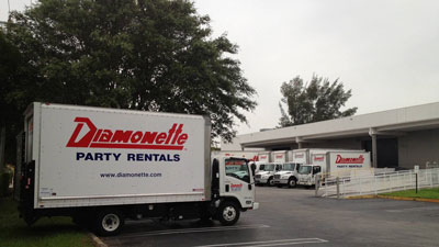 Deliver and pickup services with Diamonette Party Rental serving Fort Lauderdale FL, West Palm Beach Florida, Miami